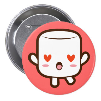 """I love YOU!"" cute marshmallow 7.5 Cm Round Badge"