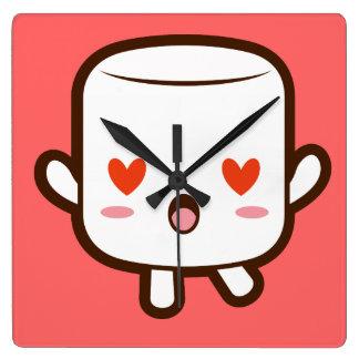 """I love YOU!"" cute marshmallow Wall Clocks"