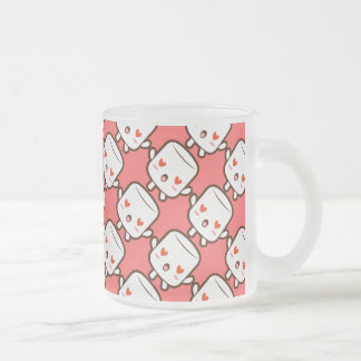 """I love YOU!"" cute marshmallow Frosted Glass Coffee Mug"