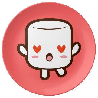 """I love YOU!"" cute marshmallow Porcelain Plates"