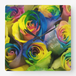 I love you Cute Personalized Rainbow Roses Square Wall Clock