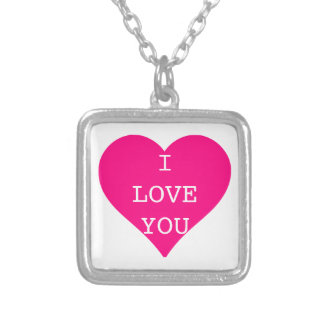 I Love You Cute Pink Heart Square Pendant Necklace
