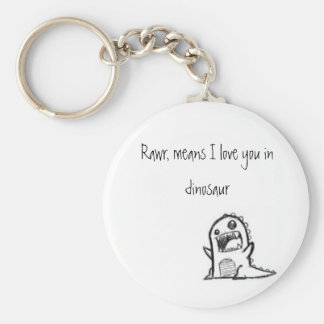 I love you dinosaur basic round button key ring