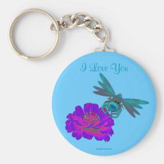 I Love You Dragonfly Zinnia Flower Basic Round Button Key Ring
