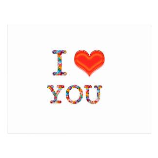 I LOVE YOU : Elegant Script of Love n Romance GIFT Postcard