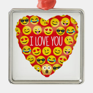 I love you emoji heart christmas ornament