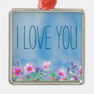 I love You Floral and Sky Silver-Colored Square Decoration