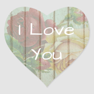 I Love You Floral Rustic Wood Stickers
