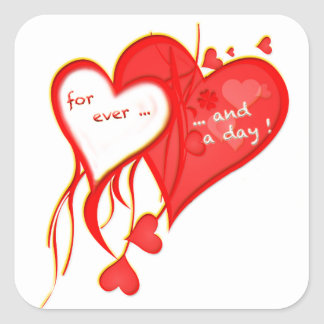 I LOVE YOU FOR EVER AND A DAY HEART SQUARE STICKER