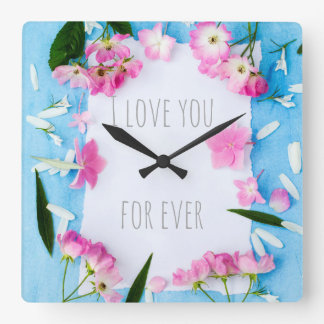 I love you for ever, pink roses & blue, wall clock