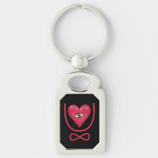 I love you forever Eye heart U eternity Silver-Colored Rectangle Key Ring