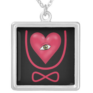 I love you forever Eye heart U eternity Square Pendant Necklace