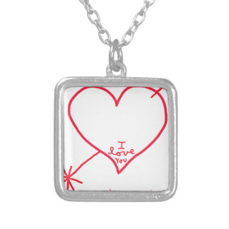 I love you from the bottom of my heart square pendant necklace
