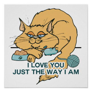 I Love You Funny Cat Graphic Saying Poster