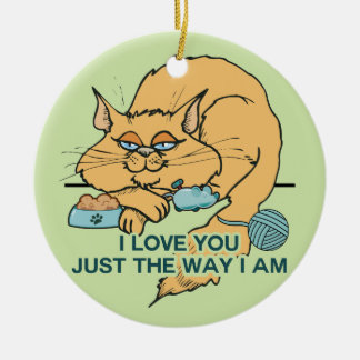 I Love You Funny Cat Graphic Saying Round Ceramic Decoration