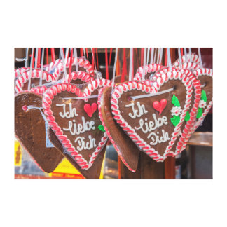 I Love You Gingerbread Hearts At The Holiday Gallery Wrapped Canvas