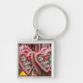 I Love You Gingerbread Hearts At The Holiday Silver-Colored Square Key Ring