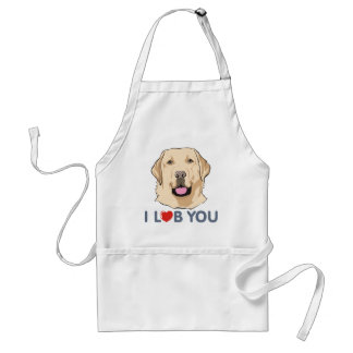 I Love You Golden Labrador Retriever Theme Standard Apron