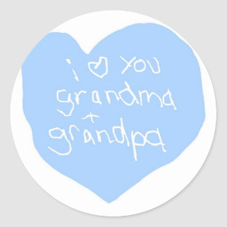 I Love You Grandma And Grandpa Blue Round Sticker