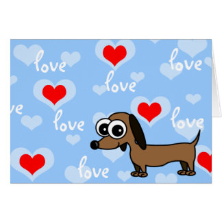 I Love You Greeting Card with Cartoon Dachshund
