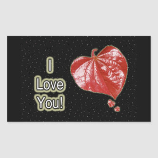 I Love You Greeting - Young Redbud Leaf in Spring Rectangular Sticker