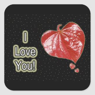 I Love You Greeting - Young Redbud Leaf in Spring Square Sticker