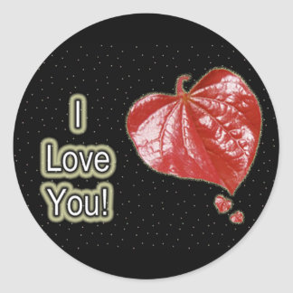 I Love You Greeting - Young Redbud Leaf in Spring Classic Round Sticker