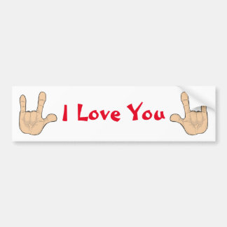 I LOVE YOU HAND GESTURE BUMPER STICKER