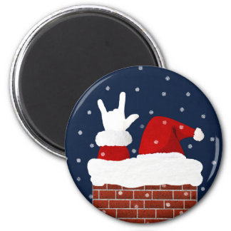 I Love You Handshape ASL Santa Christmas Magnet