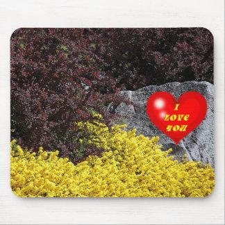 I Love You Heart Bushes Flowers Rock Mousepad