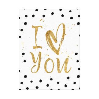 """I Love You"" Heart Gold Canvas Wrap Canvas Print"