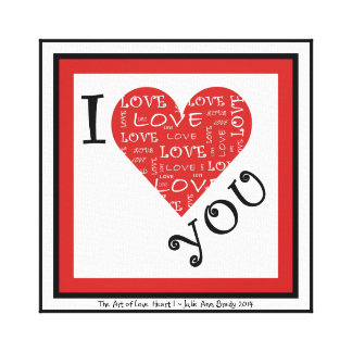 I Love YOU Heart I Stretched Canvas Prints