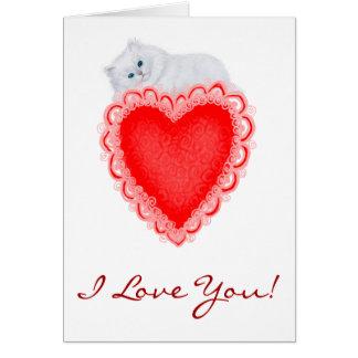 I Love You Heart Kitten Card