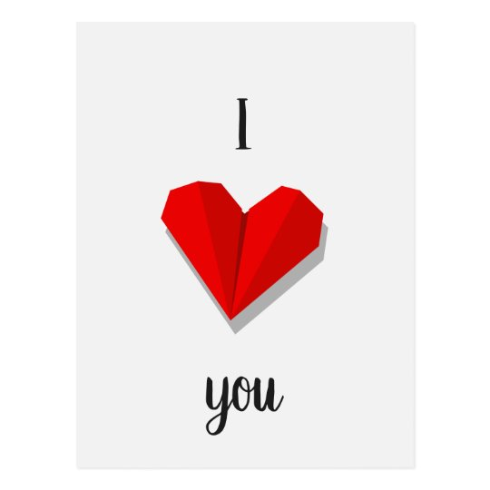 I Love You Heart Origami Postcard