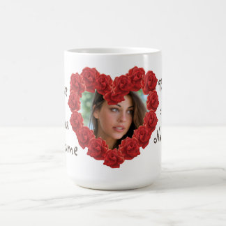 I love you heart photo frame mug