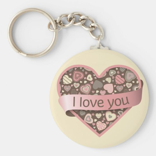 I love you heart with banner - Chocolate Dream Basic Round Button Key Ring