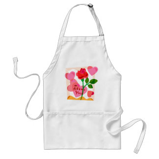 I Love You Hearts and Rose Abstract Adult Apron