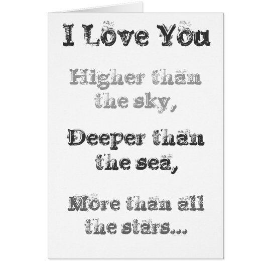 I love you higher than the sky Greeting