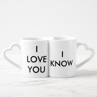 """I Love You"" ""I Know"" Couples Connecting Mugs"