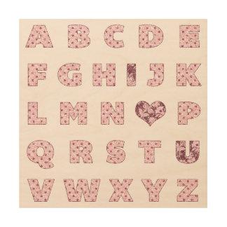 I Love You | I ♥ U Pink Glitter Alphabet Valentine Wood Print
