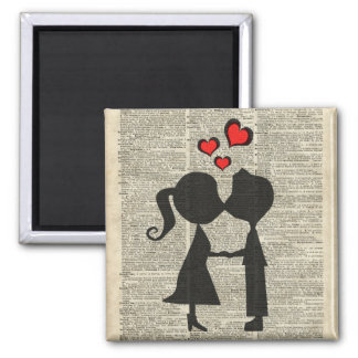 I love you illustration over an dictionary page square magnet