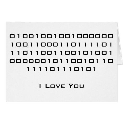 """I Love You"" in Binary Code Cards"
