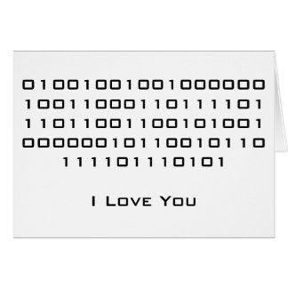 """I Love You"" in Binary Code Note Card"