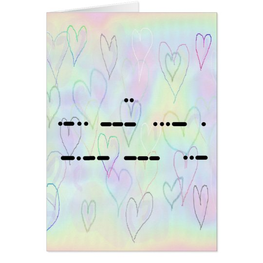 I Love You in Morse Code Hearts Card - Customise