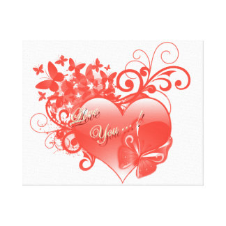 I LOVE YOU IN RED HEART CANVAS PRINTS