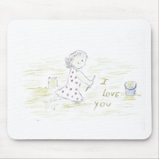 I Love You in the sand Mouse Pad