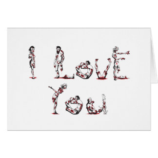 I Love You in Zombie Font Greeting Card