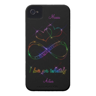I love you infinitely multicolor hearts on black iPhone 4 cover