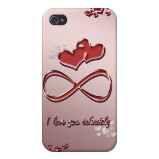 I love you infinitely. Red hearts on a pink Case For The iPhone 4