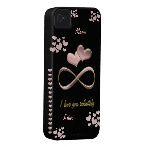 I love you infinitely Valentine's Day  pink black iPhone 4 Case-Mate Case